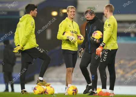 Jonas Lossl of Everton warms up prior to the English Premier League soccer match between Everton FC and Leeds United in Liverpool, Britain, 28 November 2020.