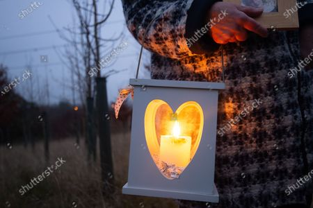 Editorial photo of Candle lit memorial following HS2 destruction, Wendover, Buckinghamshire, UK - 28 Nov 2020