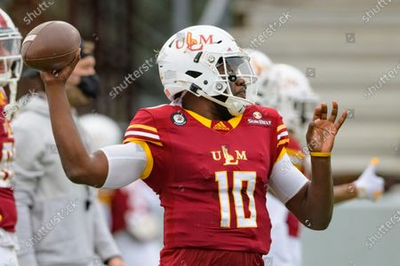 Stock Picture of Louisiana Monroe quarterback Jeremy Hunt (10) throws before an NCAA college football game against Louisiana-Lafayette in Monroe, La