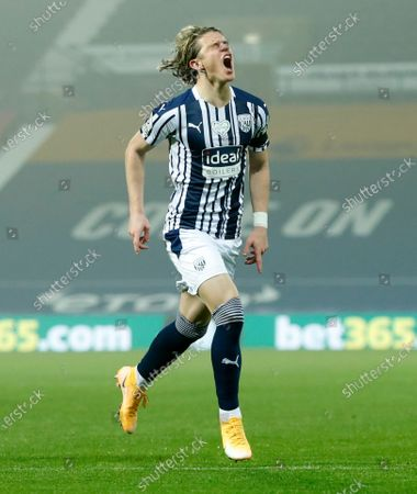 West Bromwich Albion's Conor Gallagher celebrates after scoring his team's first goal during the English Premier League soccer match between West Bromwich Albion and Sheffield United at The Hawthorns in West Bromwich, England