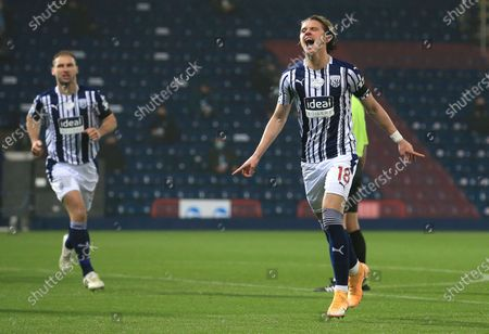 Stock Picture of West Bromwich Albion's Conor Gallagher celebrates after scoring his team's first goal during the English Premier League soccer match between West Bromwich Albion and Sheffield United at The Hawthorns in West Bromwich, England