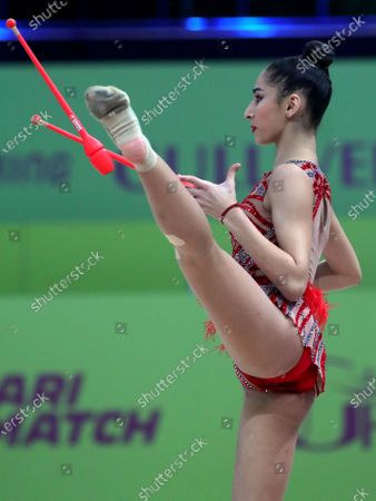 Eva Brezalieva of Bulgaria performs with the clubs on Day Three of the 2020 European Championships in Rhythmic Gymnastics at the Palace of Sports, Kyiv, capital of Ukraine.