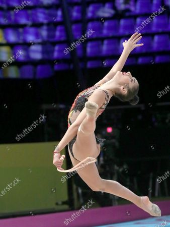 Eva Brezalieva of Bulgaria performs with the rope on Day Three of the 2020 European Championships in Rhythmic Gymnastics at the Palace of Sports. Kyiv, capital of Ukraine.