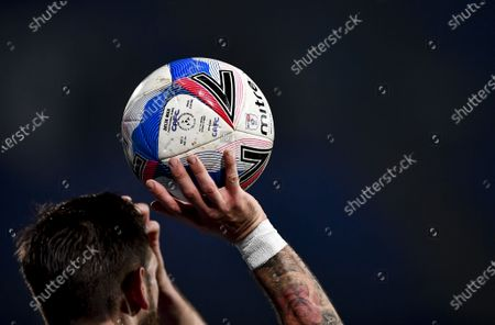 EFL Mitre Delta match ball held by Luke Chambers of Ipswich Town