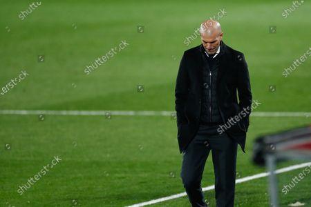 Zinedine Zidane, head coach of Real Madrid, laments during the spanish league, La Liga Santander, football match played between Real Madrid and Deportivo Alaves at Alfredo Di Stefano stadium on november 28, 2020, in Valdebebas, Madrid, Spain