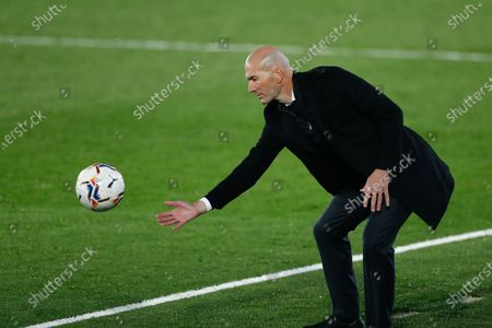 Stock Picture of Zinedine Zidane, head coach of Real Madrid, in action during the spanish league, La Liga Santander, football match played between Real Madrid and Deportivo Alaves at Alfredo Di Stefano stadium on november 28, 2020, in Valdebebas, Madrid, Spain
