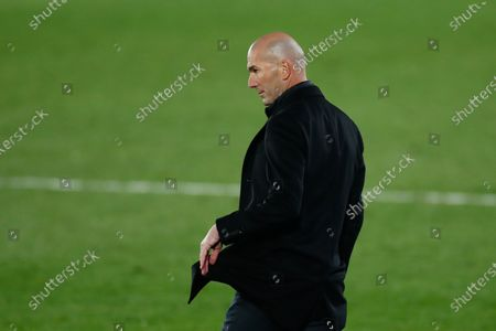Zinedine Zidane, head coach of Real Madrid, looks on during the spanish league, La Liga Santander, football match played between Real Madrid and Deportivo Alaves at Alfredo Di Stefano stadium on november 28, 2020, in Valdebebas, Madrid, Spain