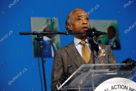 Stock Picture of Rev. Reverend Al Sharpton, President & Founder, National Action Network and others celebrate the life & legacy of the Honorable David N. Dinkins, the 106th Mayor of New York City held at the National Action Network Hall of Justice
