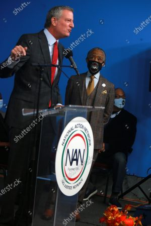 Stock Image of Rev. Reverend Al Sharpton, President & Founder, National Action Network and New York City Mayor Bill de Blasio celebrate the life & legacy of the Honorable David N. Dinkins, the 106th Mayor of New York City held at the National Action Network Hall of Justice