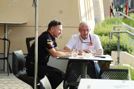 Christian Horner, Team Principal, Red Bull Racing, talks to Helmut Marko, Consultant, Red Bull Racing  during the 2020 Formula One Bahrain Grand Prix