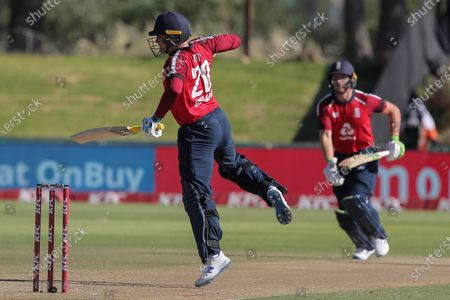 England batsman Jason Roy hops on one leg after been struck by the ball during a T20 cricket match between South Africa and England in Paarl, South Africa