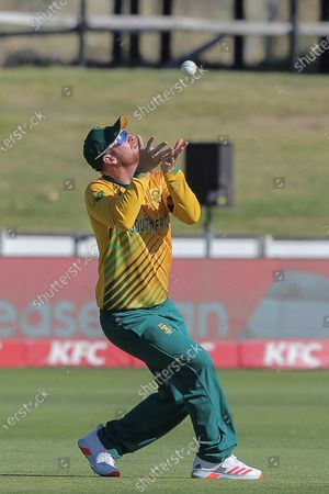 South African fielder Heinrich Klaasen takes a catch for the wicket of Jason Roy during a T20 cricket match between South Africa and England in Paarl, South Africa