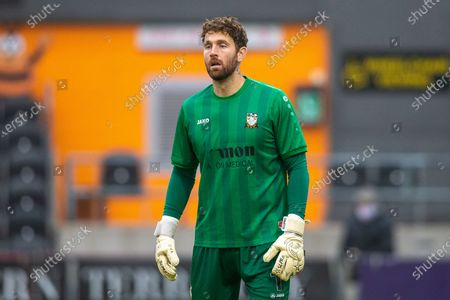 Barnet goalkeeper Scott Loach (1) during the The FA Cup match between Barnet and Milton Keynes Dons at the Hive, Barnet