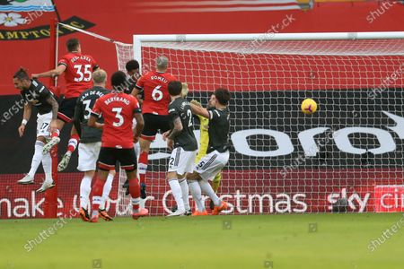 Southampton's Jan Bednarek, 2nd left, scores his side's opening goal during an English Premier League soccer match between Southampton and Manchester United at the St. Mary's stadium in Southampton, England