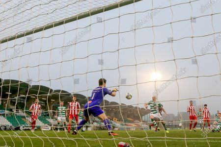 Stock Picture of Shamrock Rovers vs Sligo Rovers. Sligo's Ed McGinty saves a shot from Joey O'Brien of Shamrock Rovers