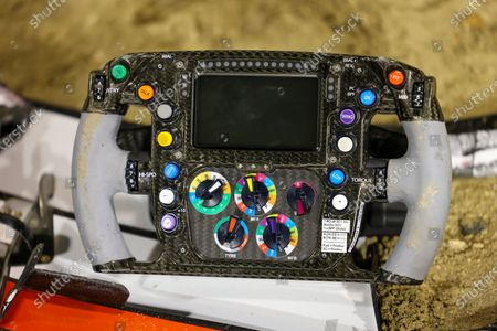 A detail of the damaged car of Canadian Formula One driver Lance Stroll of BWT Racing Point during the Formula One Grand of Bahrain on the Bahrain International Circuit in Sakhir, Bahrain 29 November 2020.