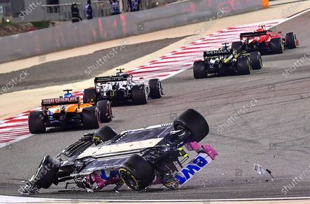 Canadian Formula One driver Lance Stroll of BWT Racing Point crashes during the Formula One Grand of Bahrain on the Bahrain International Circuit in Sakhir, Bahrain 29 November 2020.