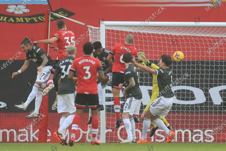 Jan Bednarek (2-L) of Southampton scores the 1-0 lead during the English Premier League soccer match between Southampton FC and Manchester United in Southampton, Britain, 29 November 2020.