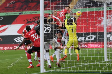 Jan Bednarek (back C) of Southampton scores the 1-0 lead during the English Premier League soccer match between Southampton FC and Manchester United in Southampton, Britain, 29 November 2020.