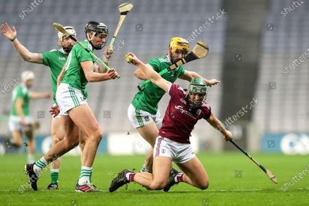 Limerick vs Galway. Galway's Fintan Burke is tackled by Tom Morrissey of Limerick