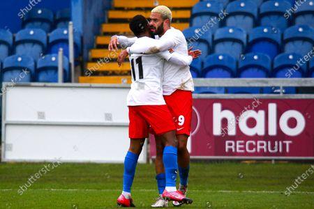 Paul McCallum of Dagenham & Redbridge celebrates his goal with Myles Weston of Dagenham & Redbridge