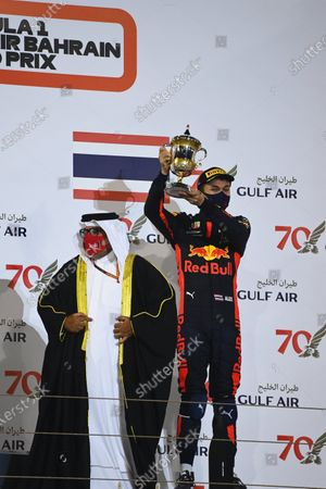 Abdullah bin Hamad bin Isa Al Khalifa and Alexander Albon, Red Bull Racing, 3rd position, on the podium during the 2020 Formula One Bahrain Grand Prix