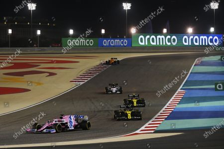 Stock Picture of Sergio Perez, Racing Point RP20, leads Daniel Ricciardo, Renault R.S.20, Esteban Ocon, Renault R.S.20, and Pierre Gasly, AlphaTauri AT01 during the 2020 Formula One Bahrain Grand Prix