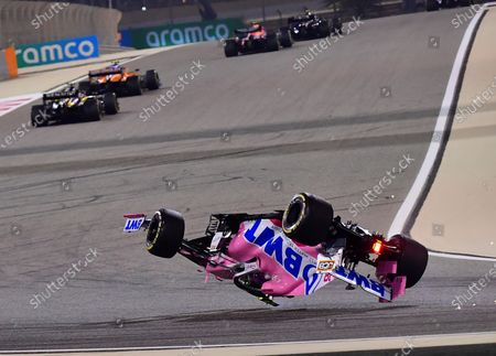 Racing Point driver Lance Stroll of Canada flips his car during the Formula One Bahrain Grand Prix in Sakhir, Bahrain