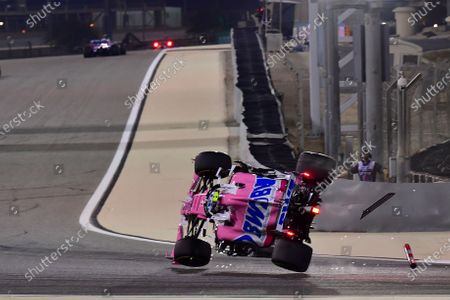 Stock Photo of Racing Point driver Lance Stroll of Canada flips his car during the Formula One Bahrain Grand Prix in Sakhir, Bahrain