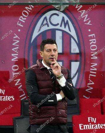 Stock Photo of Ac Milan's coach Daniele Bonera reacts during the Italian Serie A soccer match  Ac Milan vs Fiorentina at Giuseppe Meazza stadium in Milan, Italy, 29 November 2020.