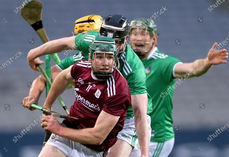 Limerick vs Galway. Limerick's Tom Morrissey, Declan Hannon and William O'Donoghue with Cathal Mannion of Galway