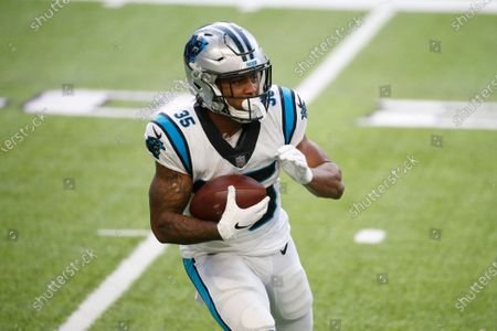 Carolina Panthers running back Rodney Smith carries the ball up field during the second half of an NFL football game against the Minnesota Vikings, in Minneapolis