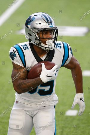 Carolina Panthers running back Rodney Smith runs up field during the second half of an NFL football game against the Minnesota Vikings, in Minneapolis