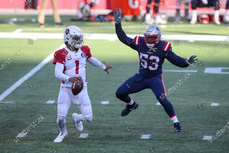 Arizona Cardinals quarterback Kyler Murray (1) is chased out of the pocket by New England Patriots linebacker Josh Uche (53) during the first half of an NFL football game, in Foxborough, Mass