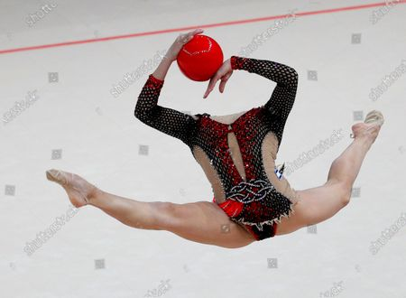 Linoy Ashram of Israel performs during the individual Ball competition at the 2020 European Rhythmic Gymnastics Championships in Kiev, Ukraine, 29 November 2020. Ashram won the gold medal in the Individual All Around final.
