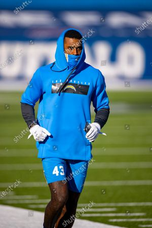 Los Angeles Chargers cornerback Michael Davis (43) warms up before an NFL football game against the Buffalo Bills, in Orchard Park, N.Y