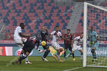 "Simy Simeon Tochukwu Nwankwo (Crotone)Takehiro Tomiyasu (Bologna)           during the Italian ""Serie A"" match between Bologna 1-0 Crotone  at  Renato Dall Ara Stadium in Bologna, Italy."