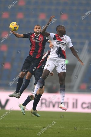 "Simy Simeon Tochukwu Nwankwo (Crotone)Danilo Langeria (Bologna)              during the Italian ""Serie A"" match between Bologna 1-0 Crotone  at  Renato Dall Ara Stadium in Bologna, Italy."