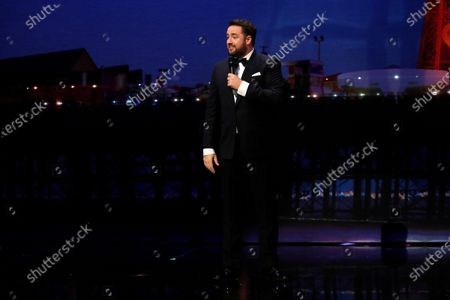 Host Jason Manford performing at the Royal Variety Performance in the historic Blackpool Opera House in the Winter Gardens Complex