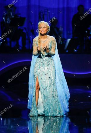 Leading lady Samantha Barks performing     Let It Go from Frozen the Musical