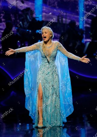 Stock Picture of Leading lady Samantha Barks performing     Let It Go from Frozen the Musical