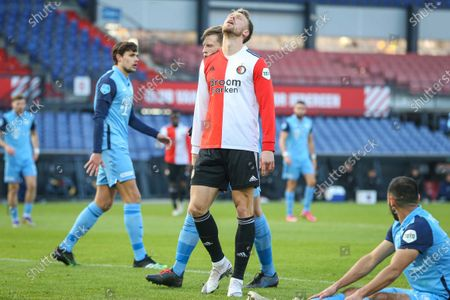 Nicolai Jorgensen (C) of Feyenoord reacts during the Dutch Eredivisie soccer match between Feyenoord Rotterdam and FC Utrecht at de Kuip in Rotterdam, Netherlands, 29 November 2020.