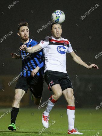 Athlone Town vs Dundalk. Athlone Town's Dean George and Brian Gartland of Dundalk