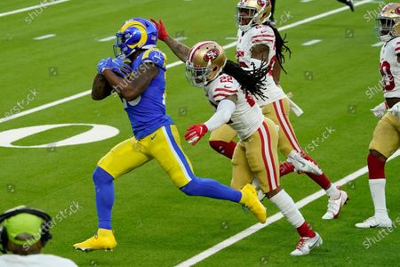 San Francisco 49ers cornerback Jason Verrett (22) catches up to Los Angeles Rams running back Cam Akers (23) during the second half of an NFL football game, in Inglewood, Calif