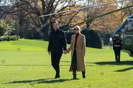Stock Image of First Daughter and Advisor to the President Ivanka Trump and husband, Jared Kushner, Assistant to the President and Senior Advisor return to the White House with United States President Donald Trump after spending Thanksgiving weekend at Camp David, the presidential retreat near Thurmont, Maryland.