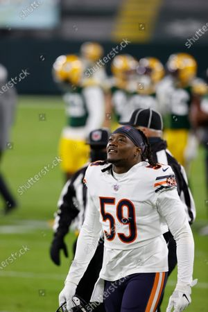 Stock Picture of Chicago Bears inside linebacker Danny Trevathan (59) before an NFL football game, Sunday, Nov 29. 2020, between the Chicago Bears and Green Bay Packers in Green Bay, Wis