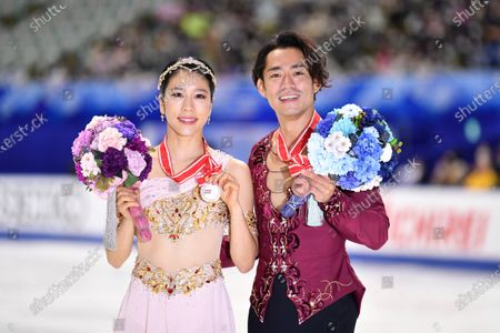 Kana Muramoto & Daisuke Takahashi (JPN) - Figure Skating : ISU Grand Prix of Figure Skating 2020/21 NHK Trophy Ice Dance Award Ceremony at Towayakuhin RACTAB Dome, Osaka, Japan.