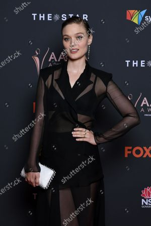 Bella Heathcote arrives at the 2020 Australian Academy of Cinema and Television Arts (AACTA) Awards in Sydney, Australia, 30 November 2020.