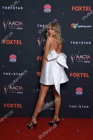 Tegan Martin arrives at the 2020 Australian Academy of Cinema and Television Arts (AACTA) Awards in Sydney, Australia, 30 November 2020.