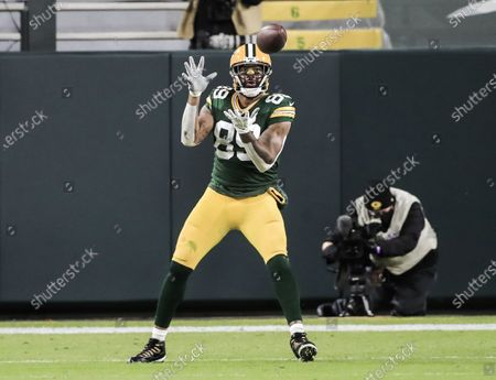 Green Bay Packers tight end Marcedes Lewis catches a pass during the NFL game between the Chicago Bears and the Green Bay Packers at Lambeau Field in Green Bay, Wisconsin, USA, 29 November 2020.